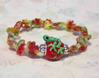 F.R.O.G. Fully Rely on God Red Lampwork Frog Elastic Bracelet, Religious Bracelet, Christian Bracelet