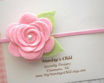 Baby Flower Headband, Felt Flower Headband, Pink Baby Headband, Felt Baby Headband, Newborn Headband, Baby Headband, Toddler Headband