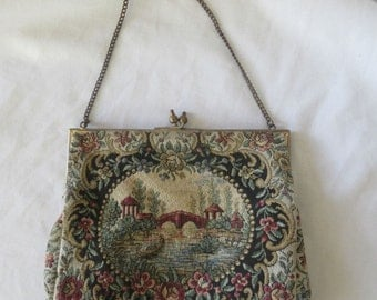 Antique Vintage Tapestry Evening Purse