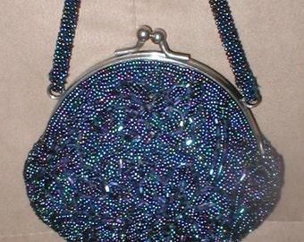 Vintage irredescent Cobalt-Blue Beaded Evening Bag