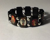 Krampus Stretchy Tile Bracelet Black Red Krampuskarten