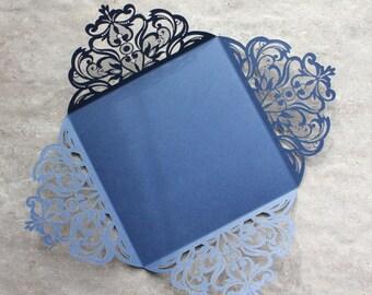 Laser Cut Lace Folder Pocket Shimmering Gold, Silver, Black, Ivory, Purple or Navy - SAMPLE ONLY -  LAUREN Style