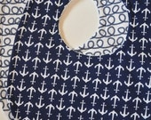 Set of 2 Gender Neutral Navy Blue Ropes & Anchors Terry Cloth Bib Set