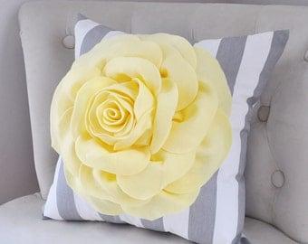 Yellow pillow-Pop art pillow-Rose Pillow on Gray and White Stripe -Etsy gift-Nursery Pillow, Light Yellow, Baby Yellow Pillow- Spring