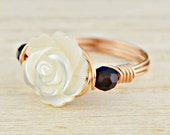 White Rose and Any Two Birthstones Ring - Rose or Yellow Gold Filled or Argentium Silver Wire Wrapped- Any Size 4,5,6,7,8,9,10,11,12,13,14