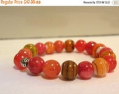 Macintosh - Quartzite Amber Swirled Glass Bracelet -  Stretch Bracelet, Pumpkin Orange Apple Red Amber Sterling Silver - Fall Collection
