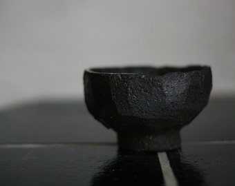 Faceted stoneware tea bowl, chawan