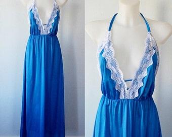 Vintage Blue Halter Top Nightgown, Undercover Wear, 1980s Nightgown, Blue Nightgown, Vintage Nightgown