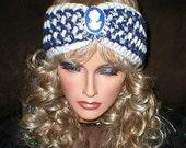 50% OFF SALE Crochet Vintage Style Reproduction Rhinestones Brooch Head Wrap Turban Ear Warmer