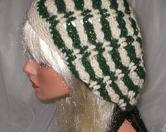 35 % OFF SALE Crochet Women's Teens Aran Green Metallic Slouchy Hat Beret Slouch Hat