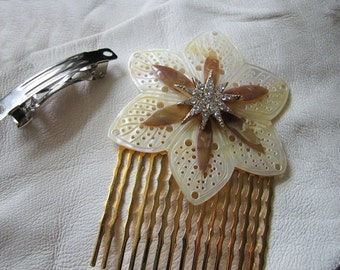 Ivory flower | hair comb | gold | atomic starburst | mother of pearl | rhinestone barrette