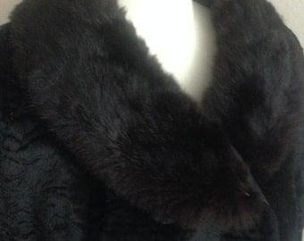 Vintage Black Velvet Fur Trimmed Jacket