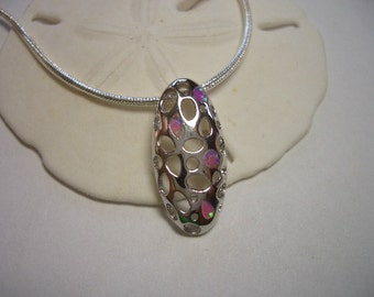 Pink Opal pendant, white gold filled, sterling silver necklace, pink and green flash Australian Opal, 925 silver snake chain necklace, opal
