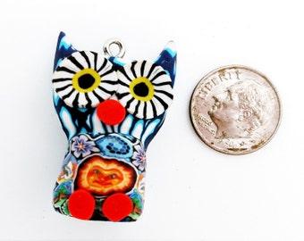 Owl Pendant, Rare Vintage Fimo Clay Owl Necklace Pendant, Mid 1990s Fimo Clay, Fimo Beads, Hippie Beads, Fimo Owl Pendant