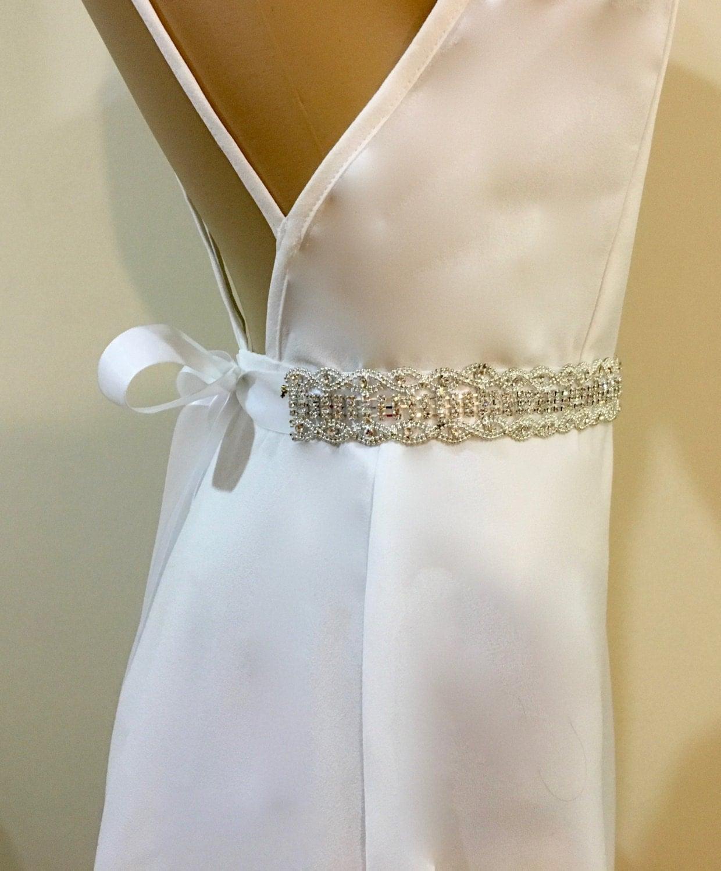 Beaded Bridal Sash Rhinestone Crystal Sash Wedding Gown by