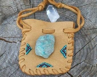 ON SALE Beaded medicine pouch ,  Leather medicine bag , Carved fetish bag ,  Drawstring medicine bag