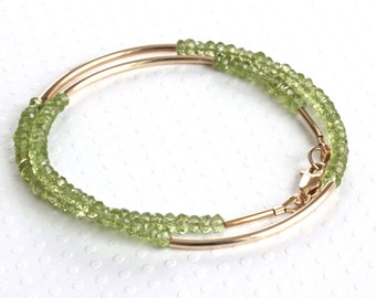 Genuine Peridot Bracelet, Wrap Around Bracelet, Green Bracelet, Beaded Wrap Bracelet, Gold Filled Jewelry, Birthstone Bracelet for Women