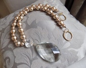 Golden champagne glass pearls curtain holder with glass drop, made in Italy