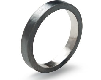 Black Sterling Silver Wedding Ring , Hand Forged Flat Fit wedding band 3 mm x 2 mm Ring Oxidized Black, Mens Unisex Minimalist Ring Valkyrie