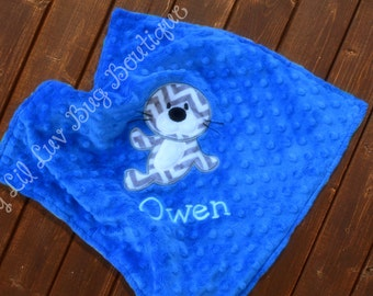 Personalized baby blanket minky-electric blue and charcoal chevron with baby seal- lovey blanket