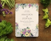 Save the Date, Art Deco Wedding Invitations, Vintage Style Save the Dates, Spring Wedding Invitation, Lavender Wedding, Floral Wedding