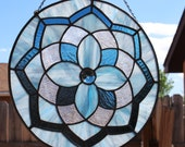 STAINED GLASS SUNCATCHER - Double Blue Mandala Glass Medallion Window Panel, Large Suncatcher, Under 150, Large Window Decoration, Gift