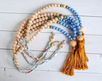 Baby Nursing Necklace - Tassel Necklace- Organic Wood Teether- Teething Necklace For Mom - Baby Necklace - Babywearing- Baby Gift