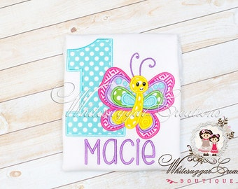 Baby Girl 1st Birthday Shirt - Custom Butterfly Birthday - Bugs Party - Aqua, Yellow and Pink Butterfly Shirt - First Birthday Girl Shirt