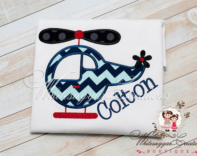 Boys Helicopter Shirt - Custom Embroidered Boys Shirt - Baby Boy Outfit