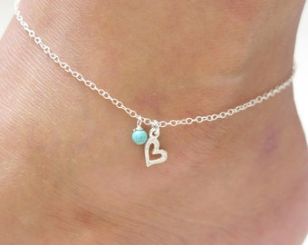 turquoise anklet,silver anklet,turquoise silver anklet,ankle bracelet,charm anklet,Anklet,sterling anklet,beach anklet,delicate anklet, thin