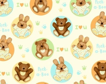 Bears and Bunnies - Peek-a-Boo Flannel from Studio E Fabrics - Full or Half Yard Cute Baby Animals on Pale Yellow Flannel
