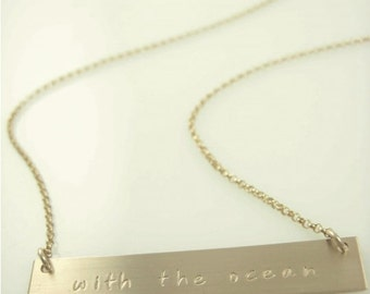 Extra Long Bar Necklace - Name Plate Necklace - Quote Neckalce