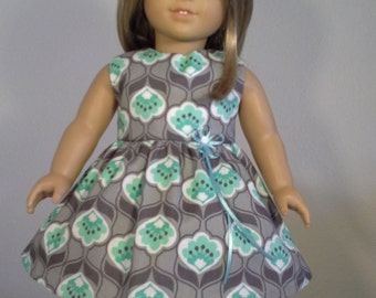 18 inch Doll Clothes Teal Grey Print Dress fits American Girl Doll Clothes