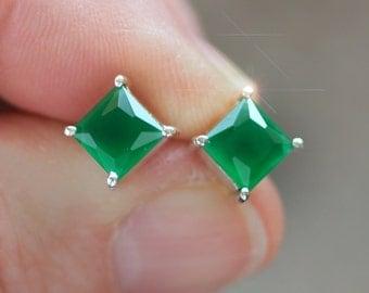 Verdegris - Genuine Princess Cut Emerald Sterling Silver Earrings