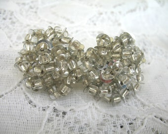 Vintage Cluster Earrings ~ Clip On ~ Silver Sequin & Crtstal Glass Beads