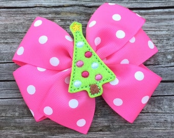 Pink Christmas Tree Hair Bow, Pink and Green Christmas Bow, Holiday Hair Bow, Christmas Hair Bow, Pink and Lime Green Holiday Bow, Hair Bows