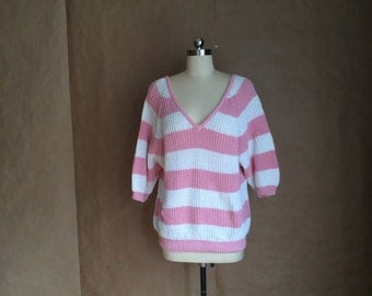 vintage 1980's oversized baggy fit strippy sweater / loose knit / pink and white pastels / GITANO grand