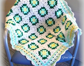 """Crochet BABY BLANKET AFGHAN Lap Granny Squares Soft Warm New Gift  34"""" x 30"""" White Green Yellow"""