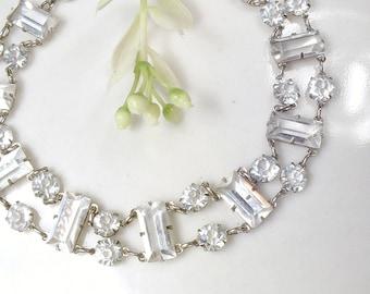 1930's Art Deco STERLING Silver Cut Crystal Rhinestone Flapper Bracelet, 1920s Vintage Wedding Bridal Bracelet Downton Abbey Edwardian 1940