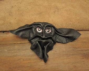 Grichels leather pin/tie tack/brooch - black with custom glittery pink eyes
