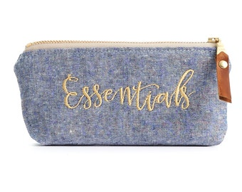 Essential Oils Pouch in Chambray with Waterproof Liner