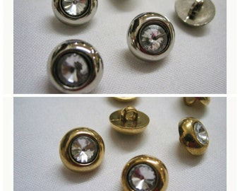 6 pcs Gold or Silver Rhinestone Buttons