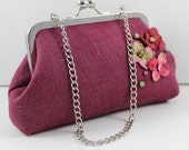 SALE Maroon Linen Clutch with Flowers and Crystals hand sewn, weddings, essentials bag, cosmetic bag, cruise trip clutch FREE SHIPPING