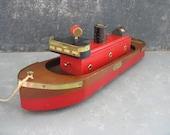 Vintage Wood Boat Pull Toy, rolloflot, firefyter, fire boat