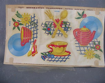 Vintage Kitchen Decals, 50s, Duro, red, yellow, blue, teapot decal, fork spoon decal