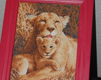 "LIONESS AND CUB - ""Completed and Framed Cross Stitch"""
