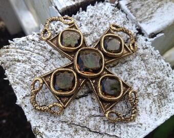 Big Beautiful Maltese Cross Brooch Glass Tourmaline Stones – 1970s Jewelry