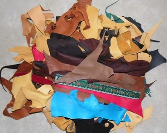 RESERVED Leather remnants scrap deer hide assorted colors small to medium pieces 3.2 pounds