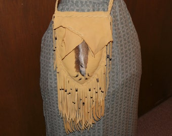 Fox paw leg and leather possibles bag fox claws cross body