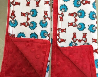 Burp Towels - Dr. Seuss Thing 1 and Thing 2 Flannel and Red Dimple Minky (set of 2)